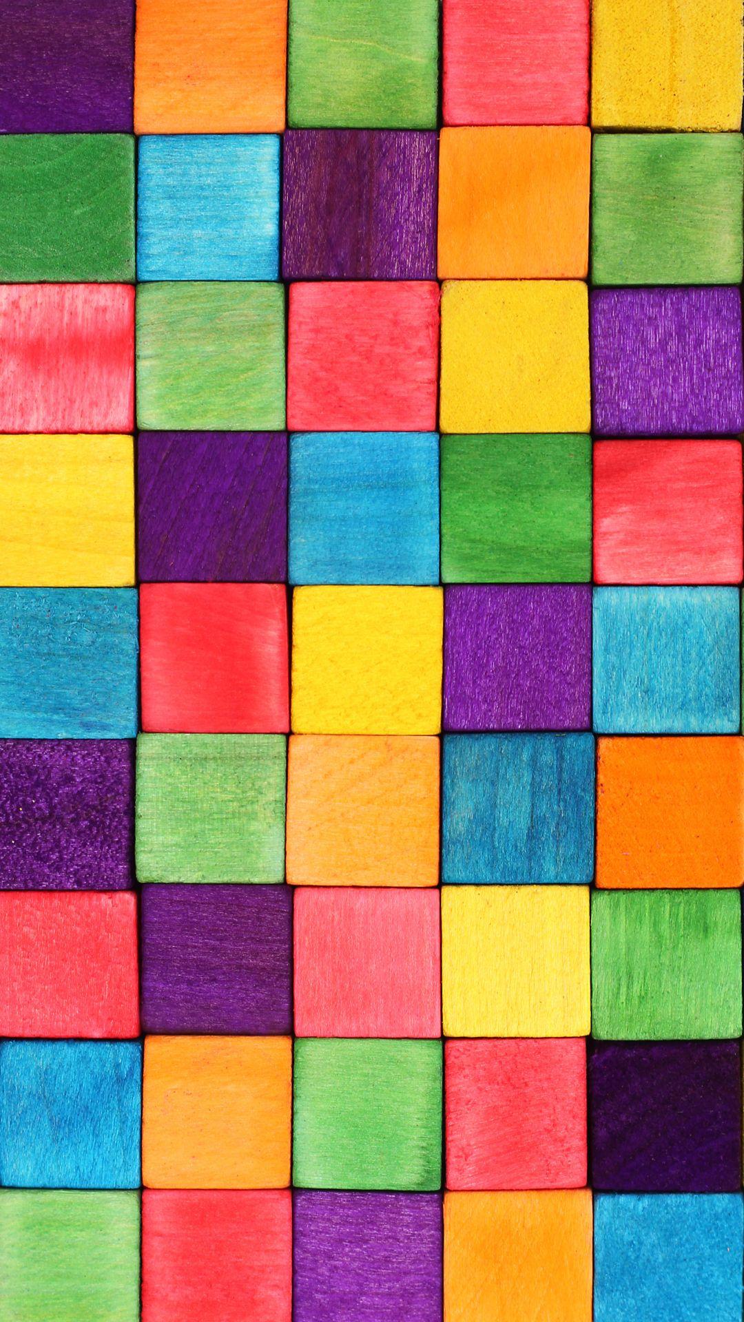 Rainbow Tile Pattern Iphone Wallpaper