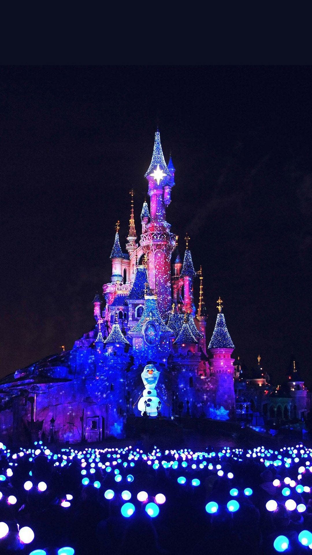 Light Up Of Cinderella Castle Iphone Wallpaper