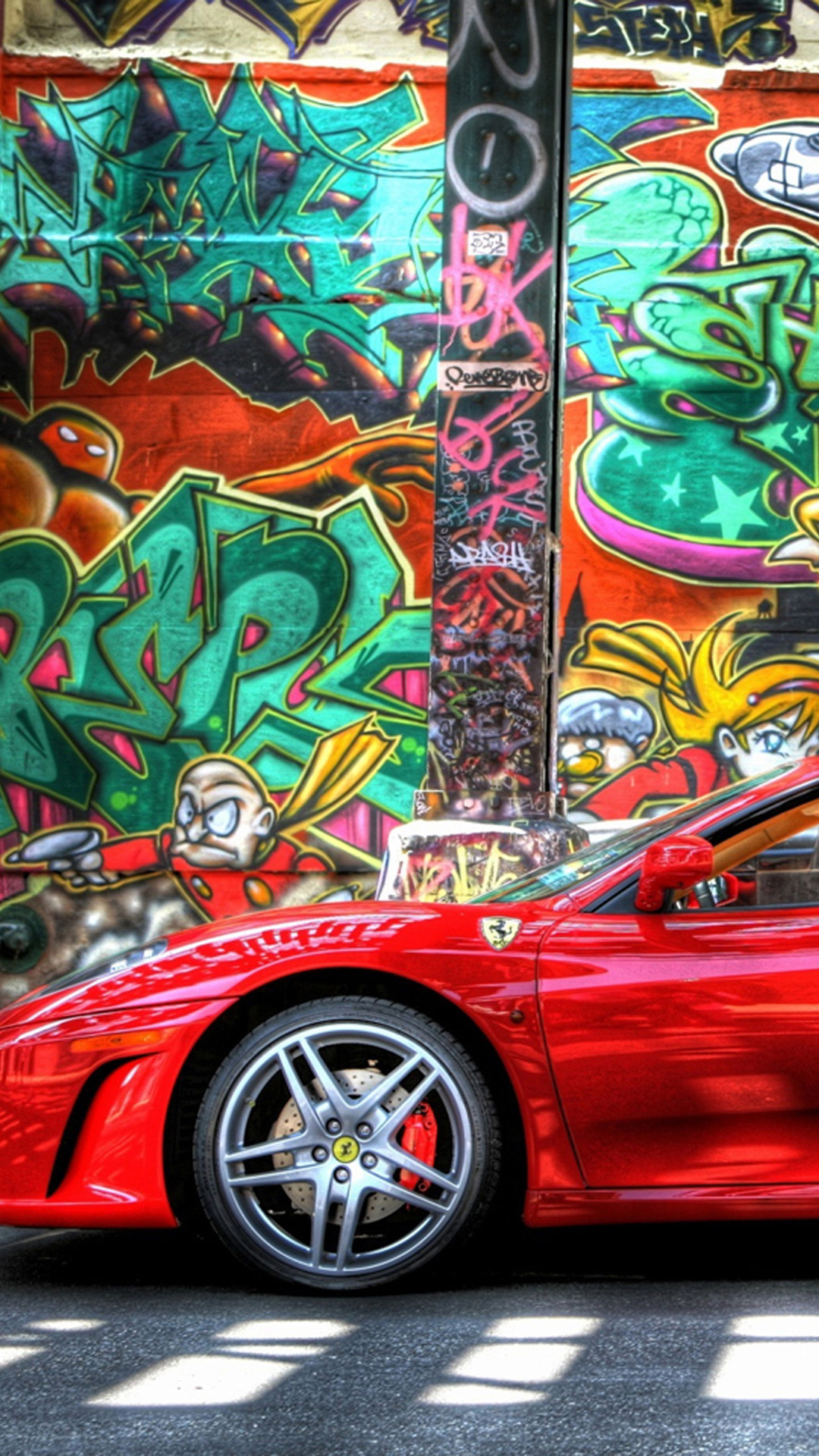 Ferrari And Graffiti Iphone Wallpaper