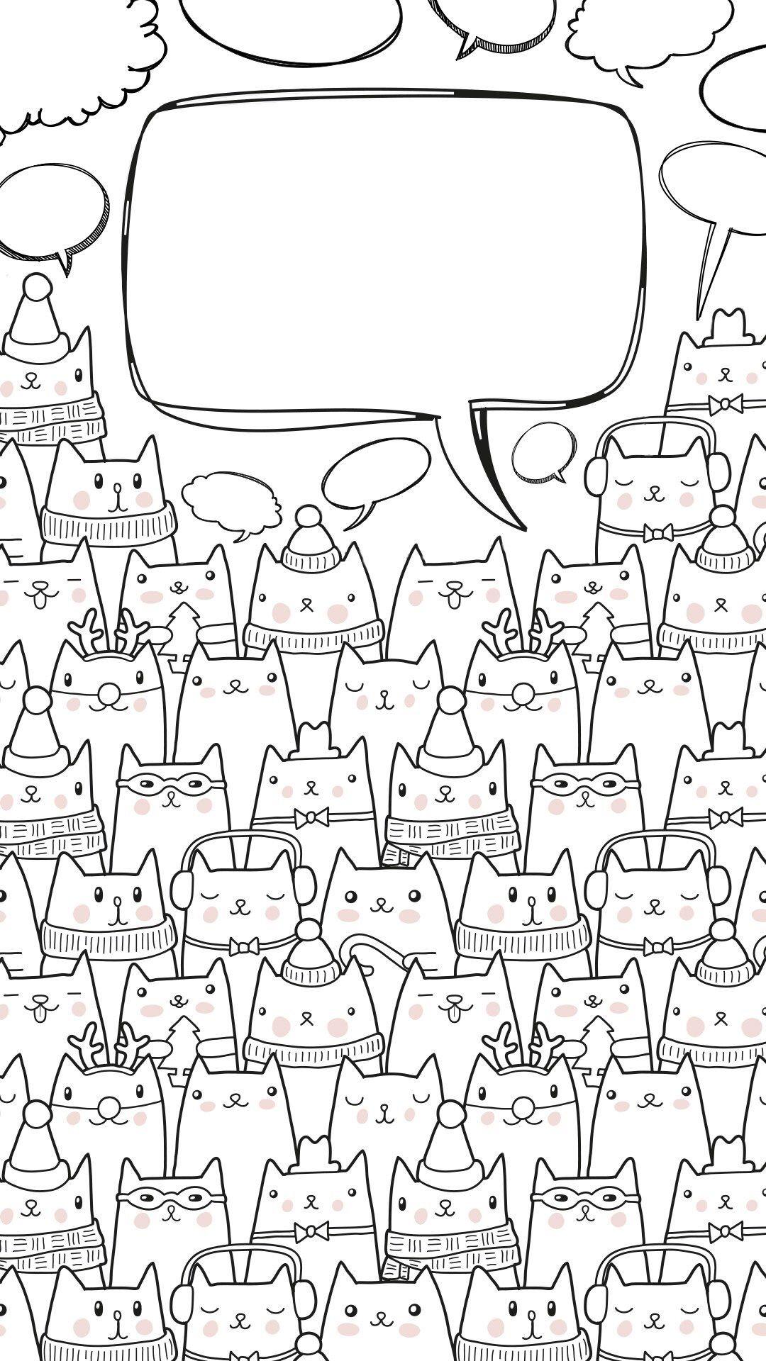 Cute Cat Illustration Iphone Wallpaper