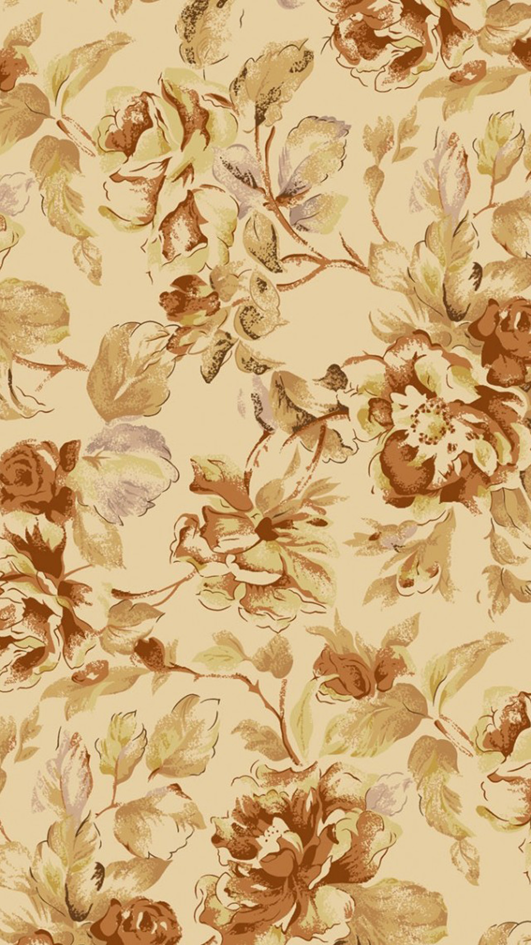 Antique Floral Print Iphone Wallpaper