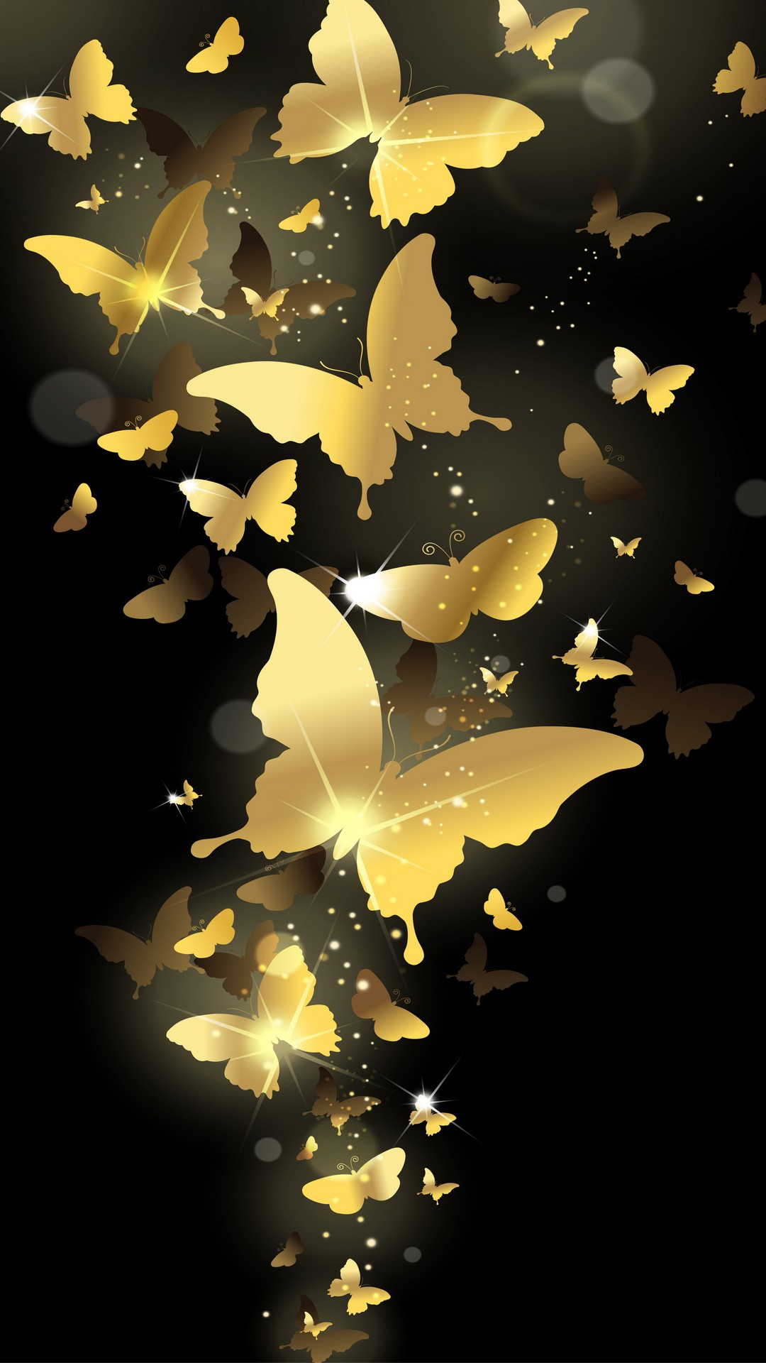 Flying Golden Butterflies Lockscreen Iphone 6 Plus Hd