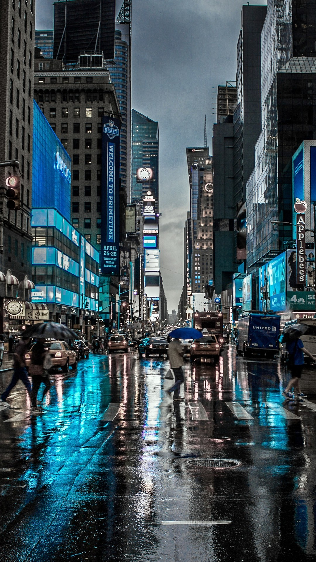 Blue Night In New York City Iphone Wallpaper