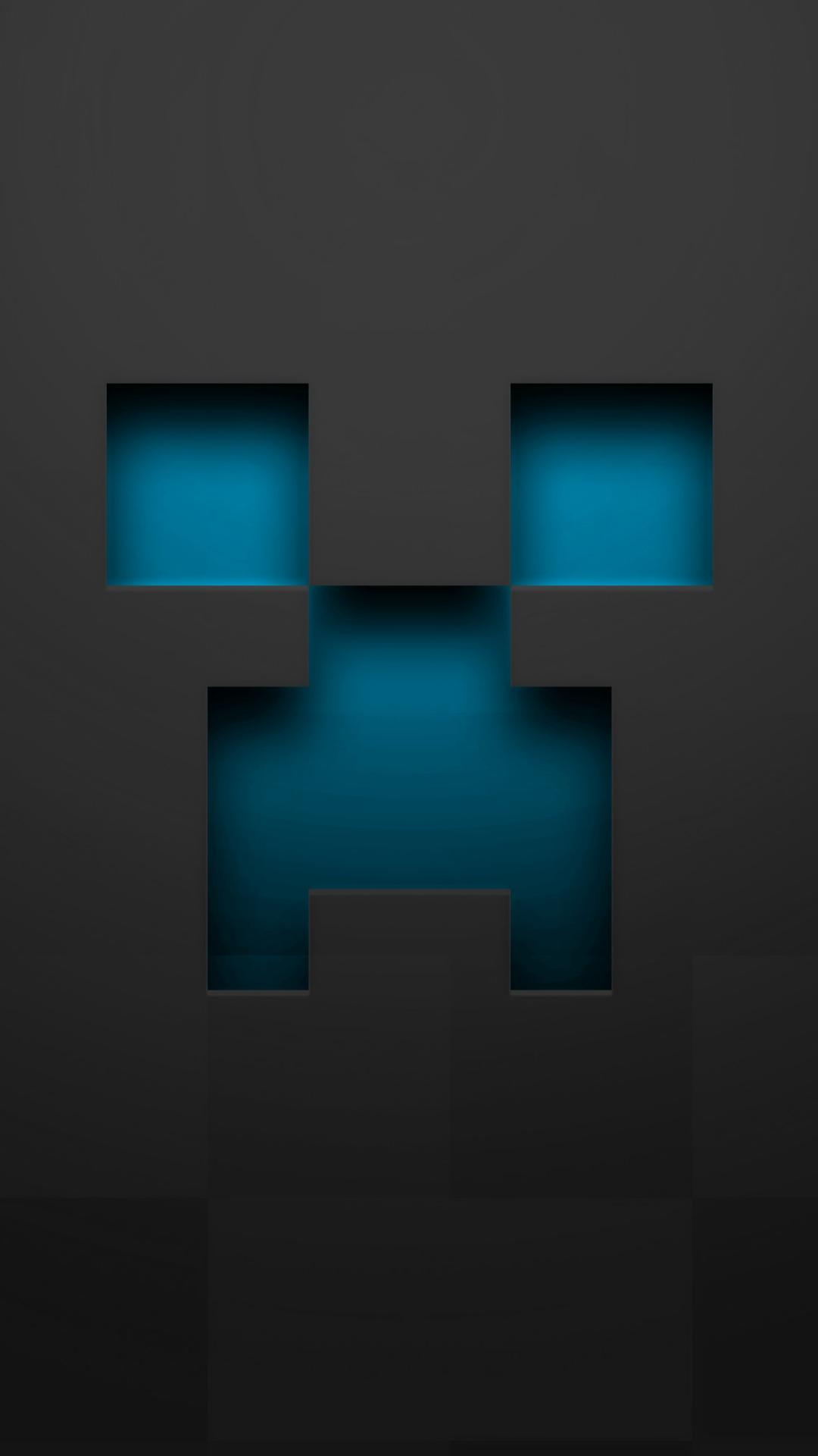 Minecraft blue creeper gray pixelart wallpaper