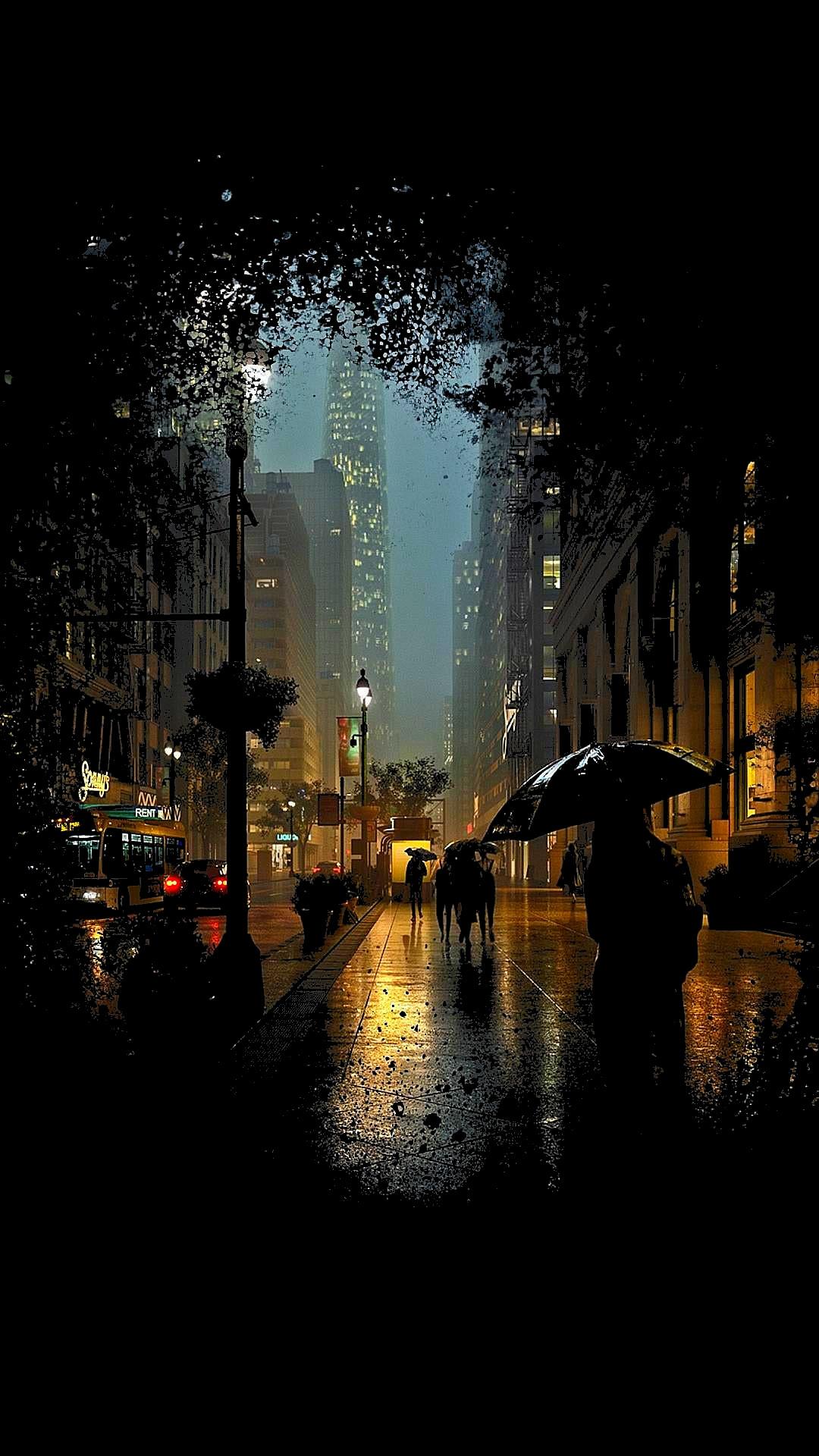 Rainy Night View Iphone Wallpaper