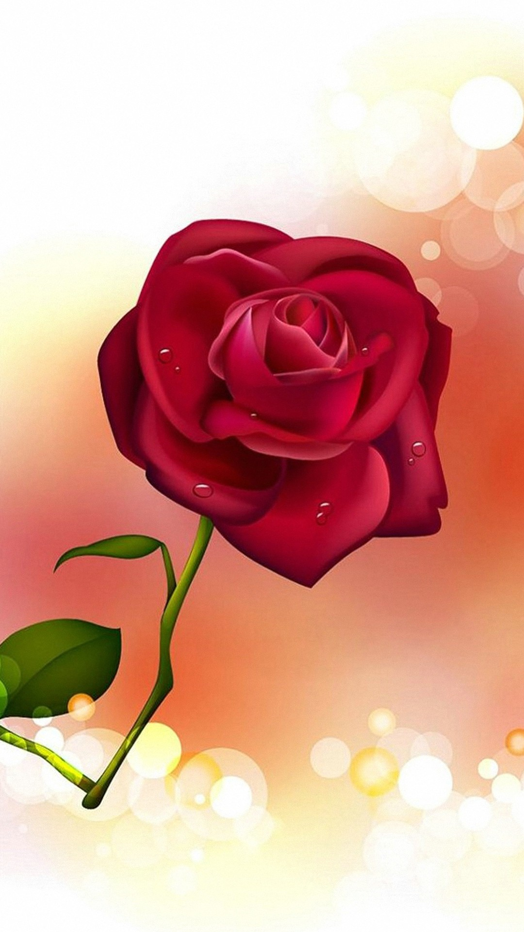 Illustration Of A Rose Iphone Wallpaper