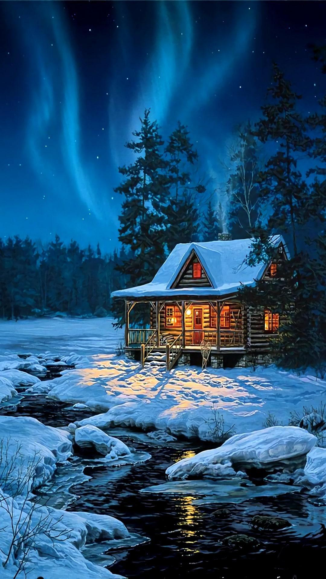 Winter Hut Iphone Wallpapers