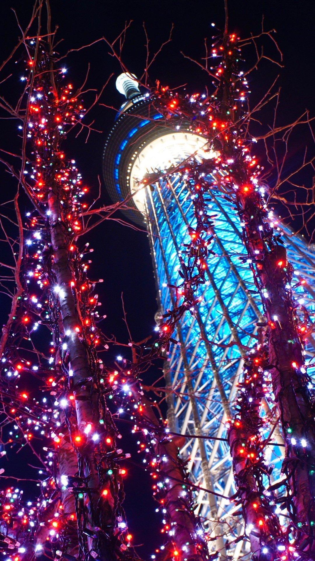 Sky Tree Illumination Iphone Wallpaper