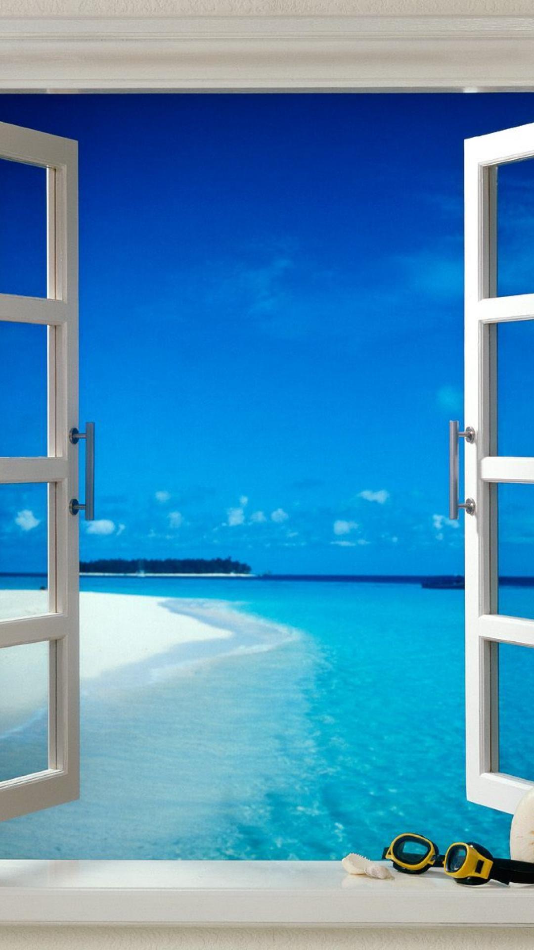 リゾートビーチの窓辺 Iphone6壁紙 Iphone Wallpapers